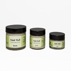 heat rub 60ml $40, 30ml $25, 15ml $15